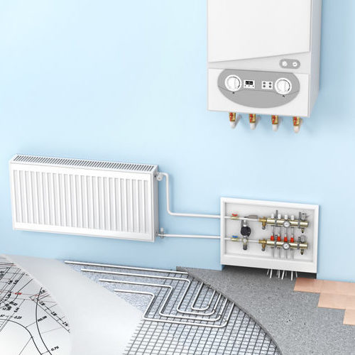 The concept of hydronic heating with radiators and a boiler. Underfloor heating